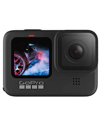 GoPro HERO9 Black - Cámara de acción sumergible con pantalla LCD delantera y pantalla táctil trasera, vídeo 5K Ultra HD, fotos de 20MP, transmisión en directo en 1080p, sin tarjeta