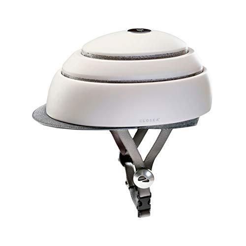 Closca Casco de Bicicleta para Adulto, Plegable Helmet. Casco de Bici y Patinete Eléctrico/Scooter para Mujer y Hombre Unisex. Blanco/Talla S. Diseño Patentado