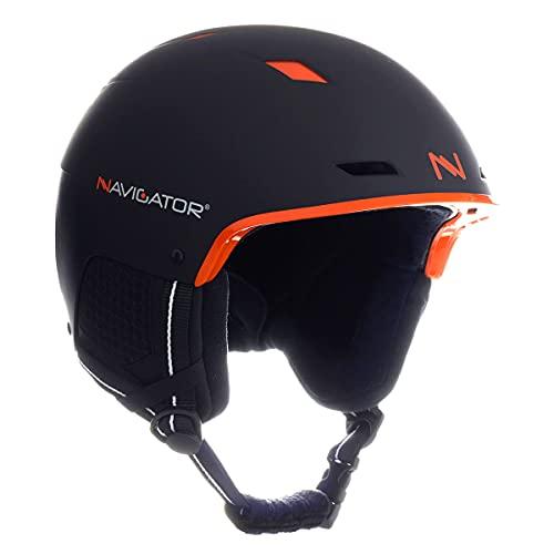 NAVIGATOR TUKAN - Casco de esquí y Snowboard - Ajustable XS-XL (Negro/Naranja, M-XL (58-62 cm))
