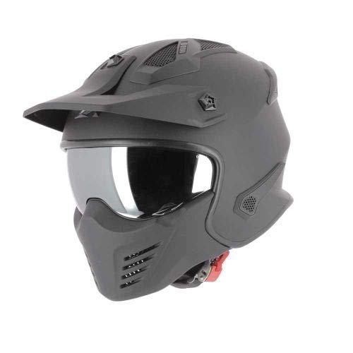 Astone Helmets - Elektron - Casque de moto jet - Casque jet 4 en 1 - Casque jet homologué - Coque en polycarbonate - Matt black M