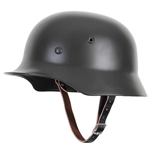 casco Reproducción de la Segunda Guerra Mundial, del Ejército alemán, M40, deacero, con forro de cuero y correa de barbilla