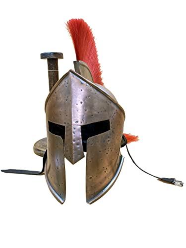 AnNafi Casco medieval espartano griego 300 Movie King Leonidas Casco romano acabado cobre con ciruela roja