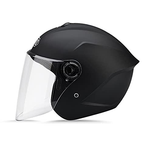 LIONCIANO Cascos De Motocicleta para Hombres y Mujeres, Cascos De Ciclomotor con Viseras.El Cabezal Anticolisión Protege La Seguridad Vial De Los Usuarios(Negro Mate)