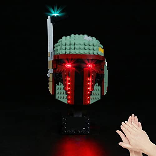 WWEI Juego de iluminación LED de voz para casco 75277 Star Wars Boba Fett con caja de pilas, luz LED compatible con LEGO, sin set Lego