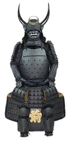 Traje De Armadura Japonés Usable Réstung Samurai Casco Negro Máscara Cuernos O35