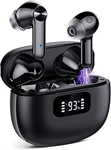 Auriculares Inalambricos, Cascos Inalambricos Bluetooth 5.1, Estéreo de HiFi, 40 Horas de Reproducción, Auriculares Bluetooth IPX7 Impermeable, Control Táctil (Negro)