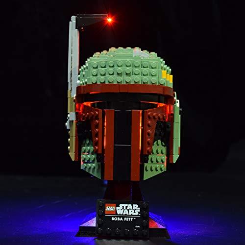 Seasy Juego de luces LED para casco Lego Star Wars Boba Fett Casco, compatible con Lego 75277 (sin set Lego)