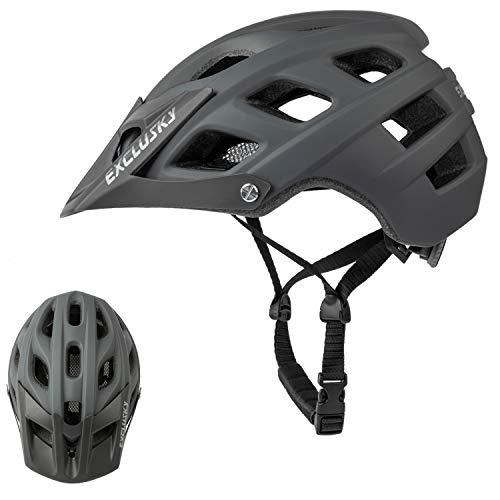 Exclusky Casco de Bicicleta de montaña, Casco Adulto IN-Mold 21 Agujeros con Visera extraíble Ajustable y Ligero para la protección de Seguridad del Ciclo,56/61cm (Gris)