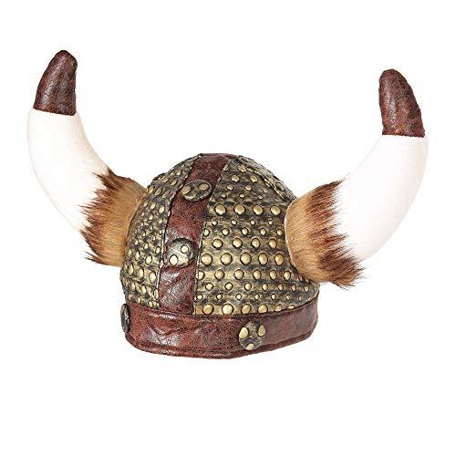 Widmann Casco de Vikinger con piel, color dorado/marrón, talla única (09169) , color/modelo surtido
