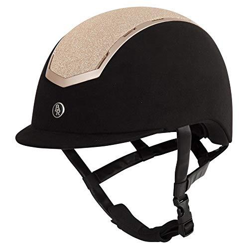 BR Sigma - Casco de equitación con purpurina VG1 (55/57, color negro y rosa)