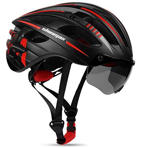 Shinmax Casco Bicicleta Adulto Casco Bici con USB luz Pegatina Luminosa Certificado CE Casco Bicicleta Mujer Hombre con Visera Magnética Casco Bici para Montaña Ciclismo Carretera 57-62CM(RC-049)