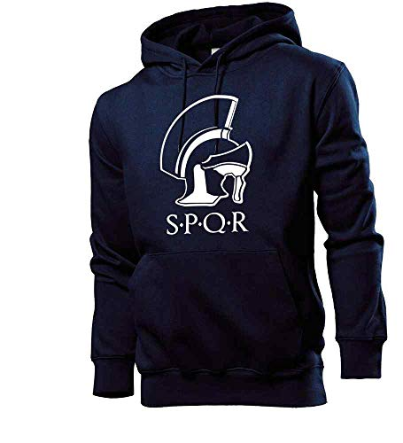 Generisch SPQR Sudadera con capucha para hombre, diseño de casco romano azul marino XXL