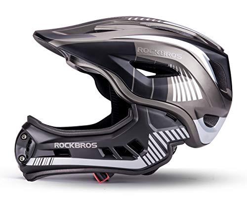 ROCKBROS Casco Integral para Niños de Bicicleta MTB BMX Casco Desmontable Ajustable 48-58CM para 3-15 Años