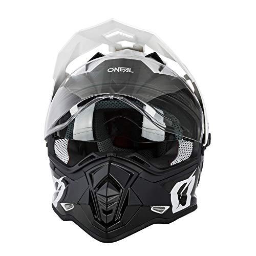O'NEAL | Casco de Moto | Moto Enduro | Aberturas de ventilación para un máximo Flujo de Aire y refrigeración, Carcasa ABS, Visera Solar integrada | Casco Sierra R | Adultos | Blanco Negro | Talla M