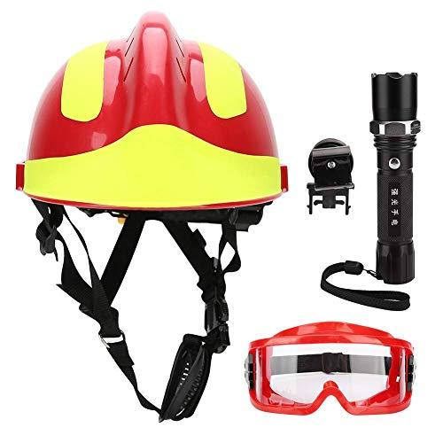 JULYKAI Retenedor de Gafas para Sombreros, Cascos de Seguridad de Rescate Cascos de protección antiincendios para Bomberos con Faro y Gafas Sombreros para Trabajadores de la construcción