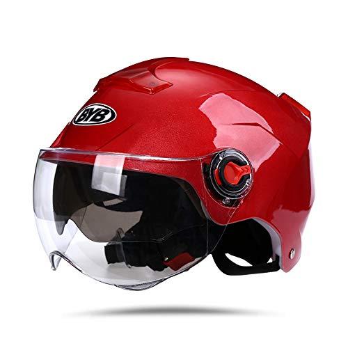 BOSEMAN Casco de Motocicleta con Visera, Adecuado para ciclomotores, Scooters, cruceros, Pase la Prueba de colisión para Cumplir con la Seguridad Vial(Rojo)