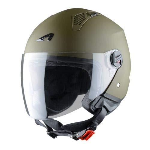 Astone Helmets - MINIJET monocolor- Casque jet - Casque jet urbain - Casque moto et scooter compact - Coque en polycarbonate - Army M