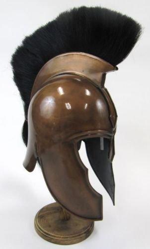 Asmara Casco de armadura de troyano náutico con pluma, acabado en cobre, espartano medieval Knight Crusader