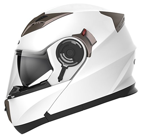 Casco Moto Modular ECE Homologado - YEMA YM-925 Casco de Moto Integral Scooter para Mujer Hombre Adultos con Doble Visera-Blanco-XL