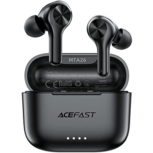 ACEFAST Auriculares Inalámbricos Bluetooth 5.0 ENC Cancelación de Ruido, Auriculares Deportivos Internos In-Ear 4 Micrófonos, Sonido HiFi, Control Táctil, 25 Horas, Carga USB-C, IPX6, Viaje/Tren/Avión