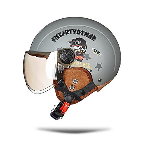 LIONCIANO Cascos De Motocicleta para Hombres y Mujeres, Cascos De Ciclomotor con Visera Reflectante, Que Protege La Seguridad Vial De Los Usuarios(Pirata Gris Mate, Lente Plateada)
