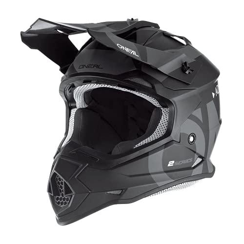 O'NEAL | Casco de Motocross | MX Enduro | ABS Shell, Estándar de Seguridad ECE 22.05, Ventilación para una óptima ventilación y refrigeración | 2SRS Casco Slick | Adultos | Negro Gris | Talla M
