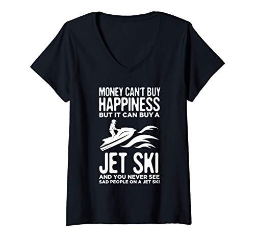 Mujer Jet Ski Racing Divertido Jet Skiing Jet Skier Gift Camiseta Cuello V