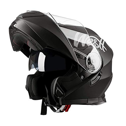 Westt - Casco Moto Modular Integral con Doble Visera Torque X, Para Motocicleta Scooter, Certificado ECE, Color Negro, Talla S (55-56cm)