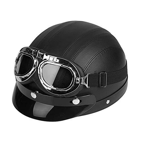 Longzhou Casco de Motocicleta, Scooter Universal de Motocicleta Cuero sintético Cara Abierta Medio Casco y Visera Gafas UV(Negro)