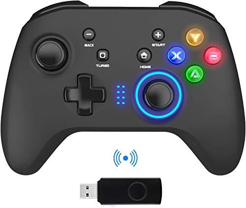 Mandos Inalámbricos para PC, Gamepad con Doble Vibración Controlador de Juegos de Computadora para PC con Windows 7/8/10, PS3,/Switch/TV Box/Laptop/Celulares Android - Negro