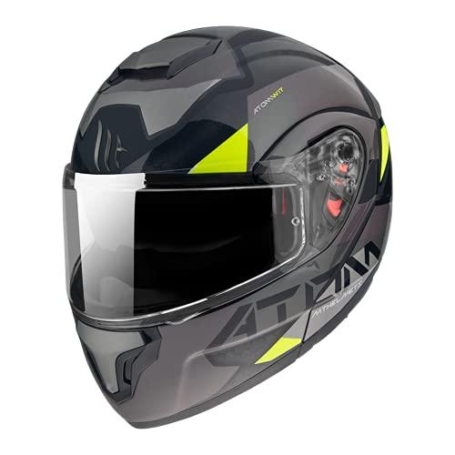 Casco Convertible para Moto HOMOLOGADO CEE DE LA Marca Atom SV W17 B2 Gris Brillo Y Mate M
