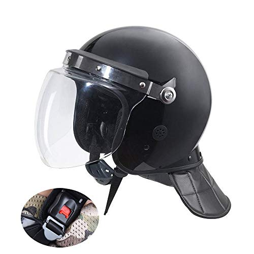 Casco Antidisturbios Protección Completa Casco De La Motocicleta Cascos Pc + Máscara Transparente + Protección del Cuello (29 * 23 * 28cm) Color: Negro Mate