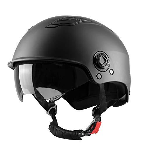 Westt Escape - Casco de Patinete Eléctrico con Visera Solar - Casco Multiuso Negro Mate para Monopatín, Bicicleta y Patinete