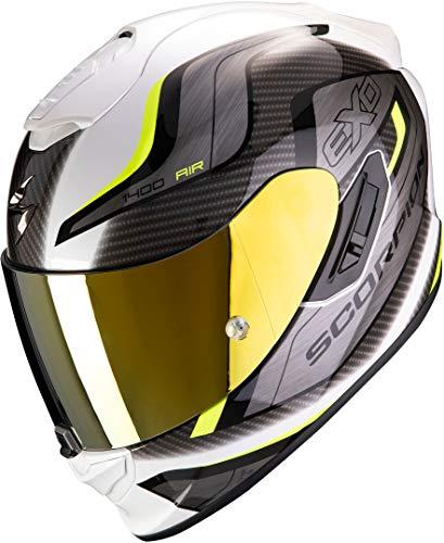 Scorpion NC Casco per Moto, Hombre, Blanco/Amarillo, M