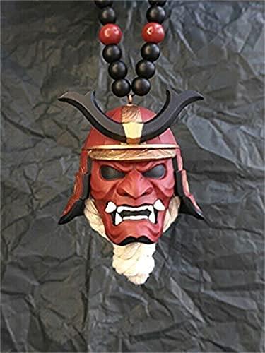 yinhegou Samurai Kabuto Casco/Hannya Japanese Oni - Samurai Assassin Demon Oni Oni Mask Ornamento, Samurai Japanese Samurai Helmet Vista Trasera Retrovisor Encantos,E