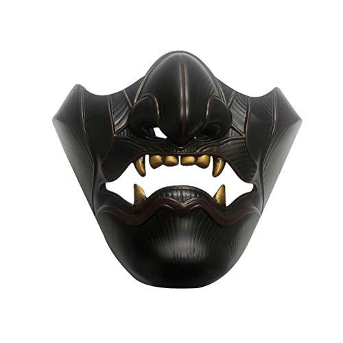 Woorea Fantasma de Tsushima,Máscara Jin Sakai Máscara de Media Cara para Adulto Casco para Cosplay Accesorios de Máscara de Resina para Fiesta de Halloween