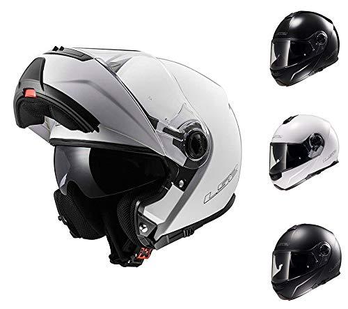 LS2 Casco de Motocicleta FF325 Strobe sólido para Adulto, Moto, Viaje, Aventura, Modular, Blanco, XS