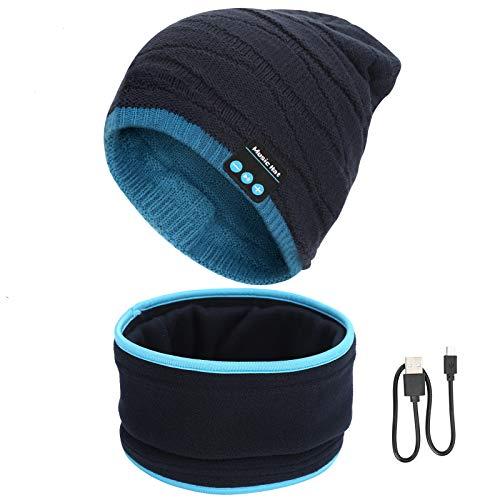 SIVITICK Gorro Bluetooth V5.0 Hombre y Mujer Beanie Música con Calentador de Cuello Gorro de Punto Invierno con Auriculares Inalámbricos Sombrero de Música Bluetooth para Correr, Esquiar, Regalar