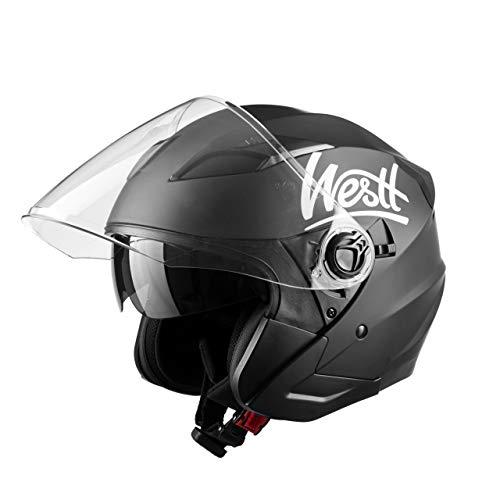Westt Jet Casco Moto, Hombre, Negro Mate, XL (61 cm)