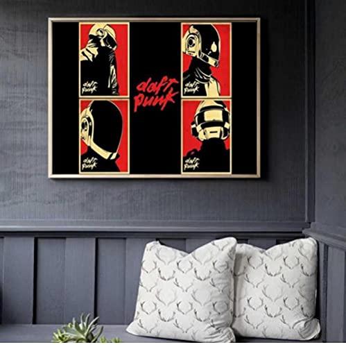 Jryuplzs Daft Punk Casco Mascarilla Música Cartel de Música e Imprimir Lienzo Arte Pintura Fotografías para la decoración de la Sala de Estar Decoración del hogar 40x60cm sin Marco