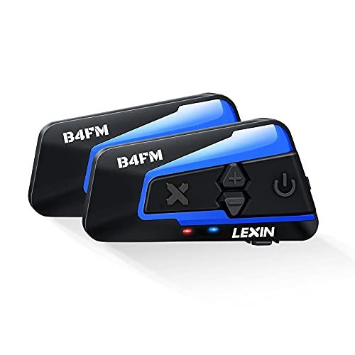 LEXIN 2X B4FM Intercomunicador Casco Moto Bluetooth,Manos Libres 1-10 Motoristas,Sistema Comunicación con Compartir Música, Auriculares para Motocicleta