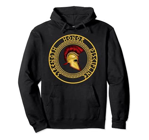 Fuerza Honor Disciplina Espartano Casco Troyano Gladiador Sudadera con Capucha