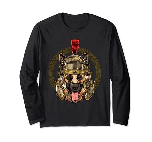Pastor alemán en casco romano Centurion Legionnaire perro Manga Larga