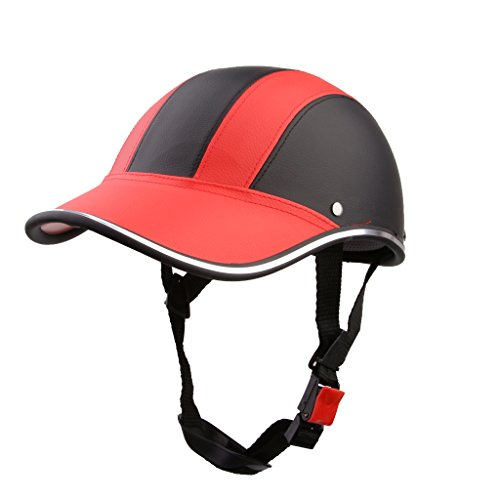 Casco de Abierta Casquillo Sombrero Motocicleta Motocross Mitad Cara Visera Correa Ajustable Protección - Rojo