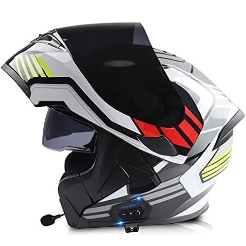 Letetexi Casco de Moto Modular con Doble Anti Niebla Visera,Bluetooth Integrado Cascos de Motocicleta con un Micrófono Incorporado ECE Dot Homologado Ligero para Hombres Mujeres 57-64CM