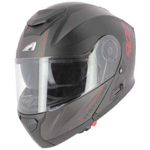 Astone Helmets - RT900 Graphic - Casque modulable - Casque de moto polyvalent - Casque modulable homologué - Casque de moto en polycarbonate - matt black red stripe M