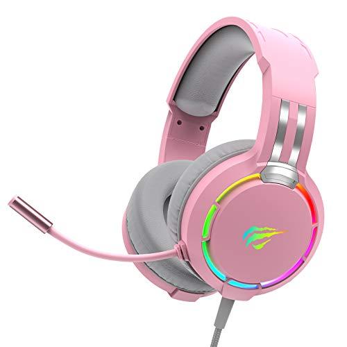 Auriculares Gaming para PS4 HAVIT Iluminación RGB Cascos Gaming Sonido Envolvente, Controlador de 50MM y micrófono con reducción de Ruido para Xbox One/PC/Móvil(Rosa)