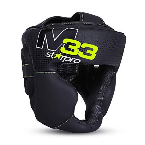 Starpro M33 Casco Boxeo   Cuero sintético Mate   Negro y Verde   Protección para la Cabeza y Las mejillas para Sparring en Boxeo Muay Thai Kickboxing Fighting & Training   Hombres y Mujeres