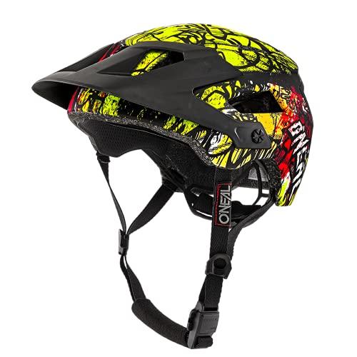 O'NEAL   Casco para bicicleta de montaña   All-Mountain   Aperturas de ventilación para refrigeración, norma de seguridad EN1078   Casco Defender Villain   Adultos   Naranja Amarillo Neón   Talla XS/M