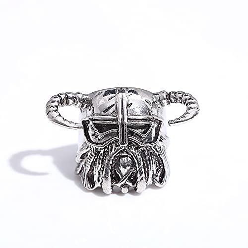 LH&BD Anillo Guerrero Vikingo Nórdico Acero Inoxidable para Hombre Cuernos Vintage Casco Gladiador Amuleto Calavera Joyería Pagana Gótica,Plata,12